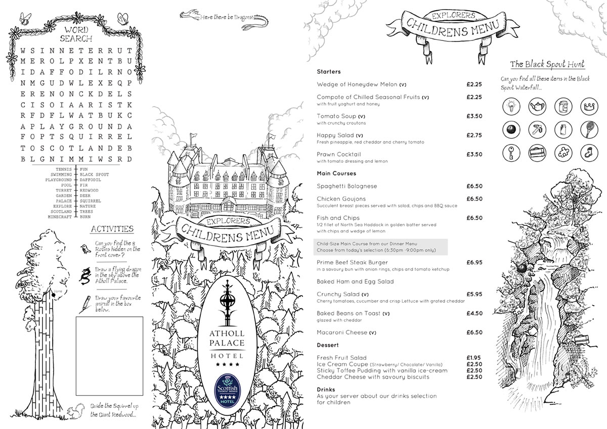 Atholl palace Children's Menu.