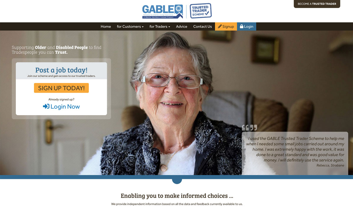 Gable Trusted traders Scheme homepage